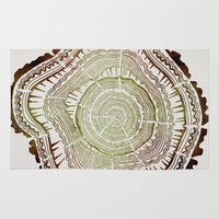 tree rings Area & Throw Rugs featuring Tree Rings – Watercolor Ombre by Cat Coquillette