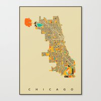 chicago map Canvas Prints featuring Chicago by Nicksman