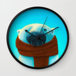 Polar bear with scarf Wall Clock