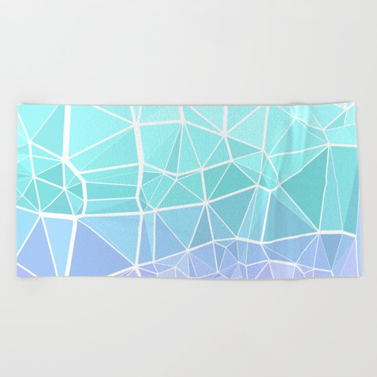 Cyan, Turquoise, and Purple Triangles Beach Towel