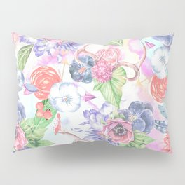 Bohemian Watercolor Flowers Leaves and Antlers Pillow Sham