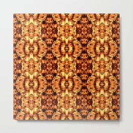 Brown Yellow  Flower Pattern Metal Print