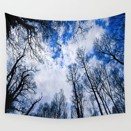 Reaching blue Wall Tapestry
