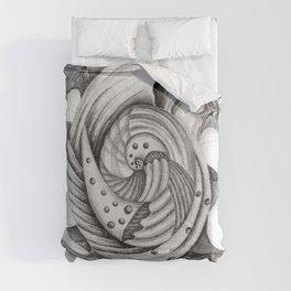 Dystopian Conch - Black & White Comforters