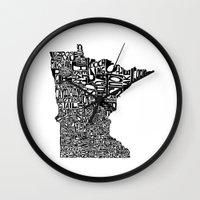 minnesota Wall Clocks featuring Typographic Minnesota by CAPow!