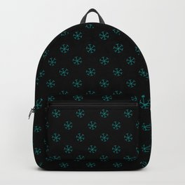 Teal Green on Black Snowflakes Backpack