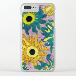 Green and orange Sunflowers. Clear iPhone Case