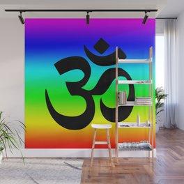 Black Om Symbol Bright Rainbow Ombre Wall Mural