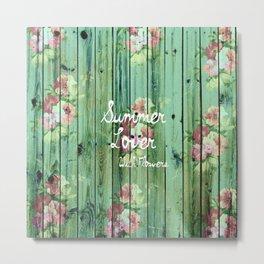 Summer Lover With Flowers | Vintage Floral pattern Teal Striped Wood Metal Print
