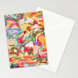 Scattered, an abstract expressionist, square, pastel painting. Stationery Cards