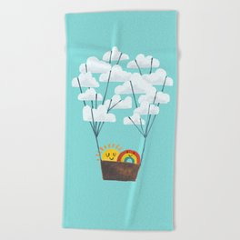 Hot cloud balloon - sun and rainbow Beach Towel