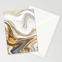 Gold, White, and Gray Abstract Painting Stationery Cards