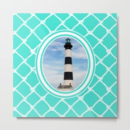 Bodie Island Lighthouse-North Carolina -With Nautical Netting Background on Turquoise Metal Print
