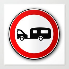 Caravan Road Traffic Sign Canvas Print