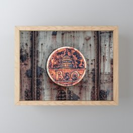Rusted B&O Emblem Baltimore and Ohio Railroad Train Bridge Insignia Rust Framed Mini Art Print