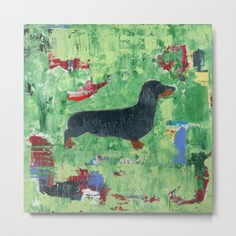 Dachshund Weiner Dog Painting Metal Print