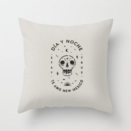 """Te Amo New Mexico"" sugar skull badge (day) Throw Pillow"