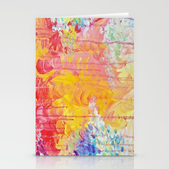 SUN SHOWERS - Beautiful Pastel Coloful Rain Clouds Bright Sky Abstract Acrylic Painting Stationery Cards