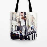 liam payne Tote Bags featuring Liam Payne by Becca / But-Like-How