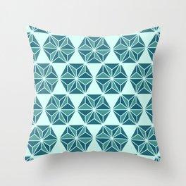 Stars XXII - Asanoha pattern - Blue Throw Pillow