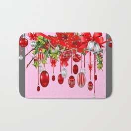 AMARYLLIS FLOWERS & HOLIDAY ORNAMENTS FLORAL PINK ART Bath Mat