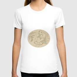 Medieval Baker Kneading Bread Dough Oval Drawing T-shirt