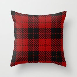 hipster red & black - holiday and everyday classic tartan check plaid nostalgic Throw Pillow