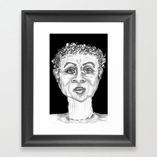 CHARCOAL FUNNY GUY BLACK BACKGROUND Framed Art Print
