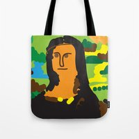 mona lisa Tote Bags featuring Mona Lisa by John Sailor