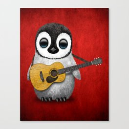Musical Baby Penguin Playing Acoustic Guitar on Deep Red Canvas Print