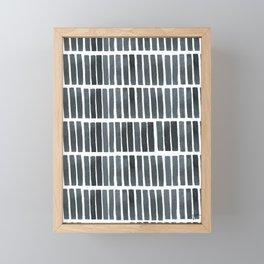 'indigo bars' - pattern Framed Mini Art Print