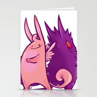 gengar Stationery Cards featuring Clefable and Gengar by Ida Dobnik