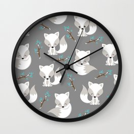 ARCTIC FOXES ON GREY Wall Clock