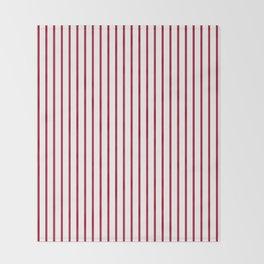 Royal Red Rose Pinstripe on White Throw Blanket