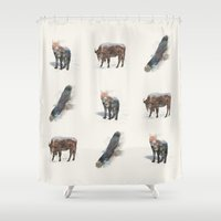 totem Shower Curtains featuring Totem by John Tibbott