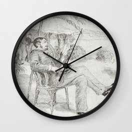 On the Terrace of a Hotel in Bordighera The Painter Jean Martin Reviews his Bill (1881) by Pierre-Au Wall Clock