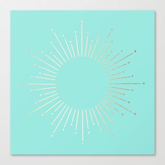Simply Sunburst in Tropical Sea Blue Canvas Print