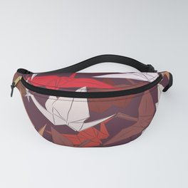 Japanese Origami paper cranes symbol of happiness, luck and longevity, sketch Fanny Pack