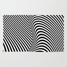 Black and White Pop Art Optical Illusion Lines Rug