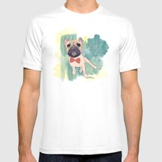 Frenchie Art. Bruno. White MEDIUM Mens Fitted Tee