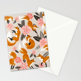 Foxes & Booms – Pink & Grey Stationery Cards