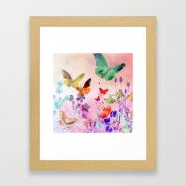 Blush Butterflies & Flowers Framed Art Print