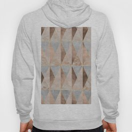 Copper Foil and Blush Rose Gold Marble Triangles Argyle Hoody
