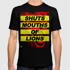 SHUTS MOUTHS OF LIONS (Daniel 6:22) MEDIUM Mens Fitted Tee Black
