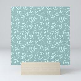 Assorted Leaf Silhouette Pattern Teals Mini Art Print
