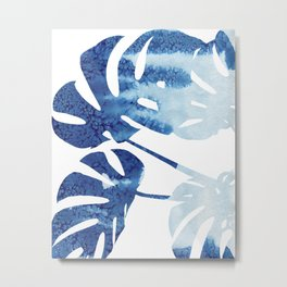 Navy Blue Tropical Leaf Metal Print