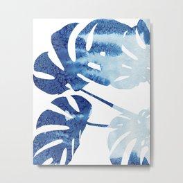 Navy Blue Tropical Leaf Metal Print