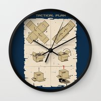 metal gear solid Wall Clocks featuring Metal Gear by le.duc