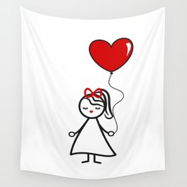 cute lovely black white red stick figure girl with heart balloon Wall Tapestry