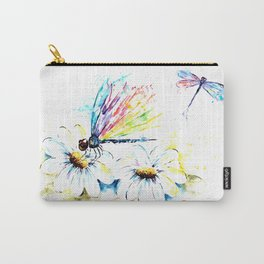 Dragonflies in a Garden - Watercolor Painting Carry-All Pouch